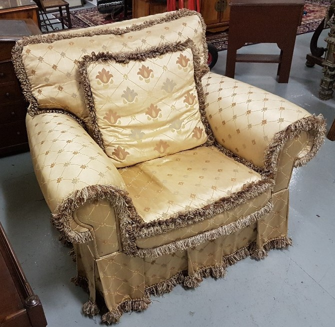 Lot 1 - Good Quality Large Armchair, with yellow ground silk floral pattern, plump cushions and removable
