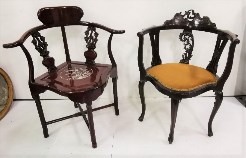 Lot 16 - Two Corner Chairs – a reproduction Chinese Style Corner Chair with mother of pearl style inlay &