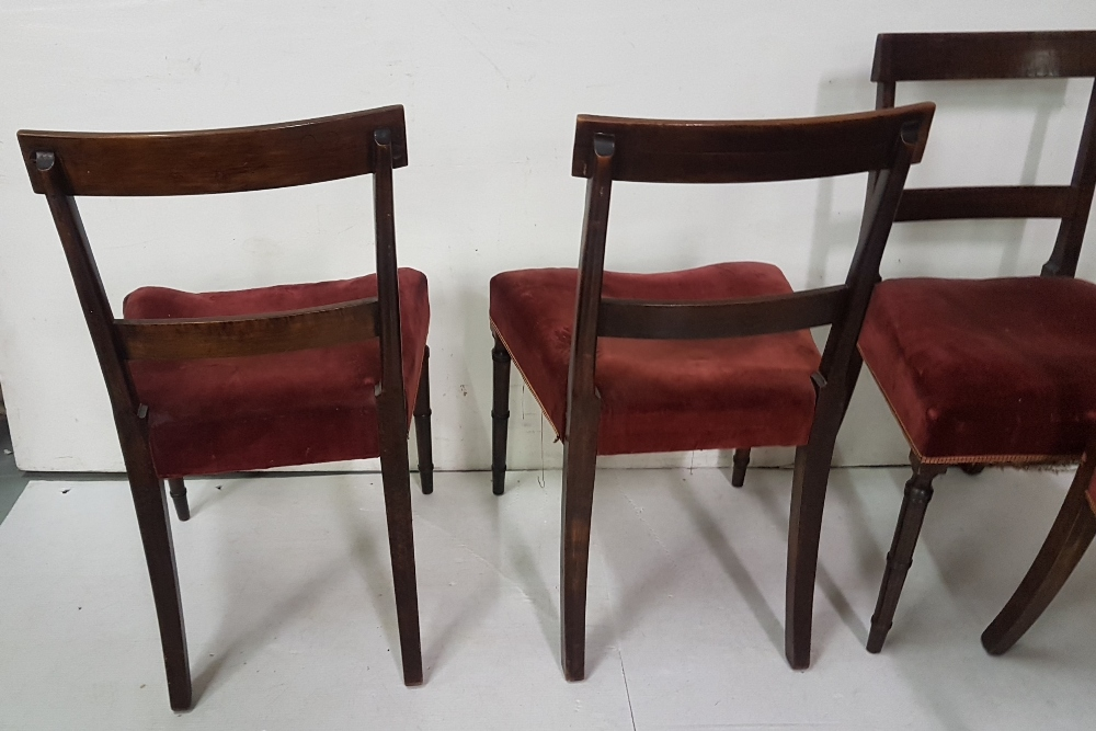 Lot 22 - Set of 4 Edw. Mahogany Dining Chairs, with rail backs, on turned legs, red velour covered seats
