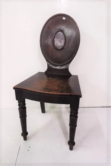 Lot 23 - Regency Mahogany Hall Chair, with oval shaped back, on turned front legs