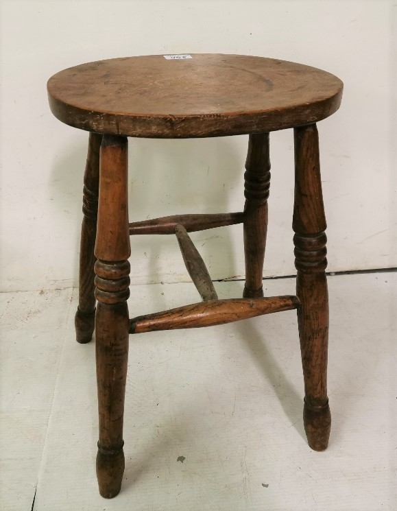 Lot 14 - Antique Elm Kitchen Stool, in spindle legs 55cmH