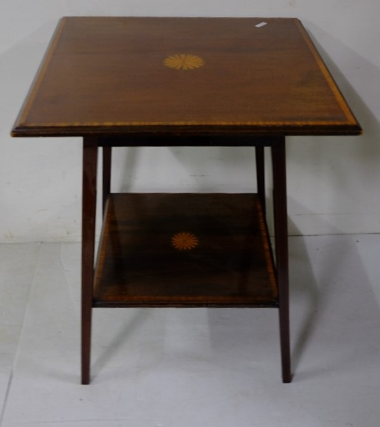 Lot 25 - Edwardian inlaid mahogany 2 tier occasional table, 60cm square shaped top