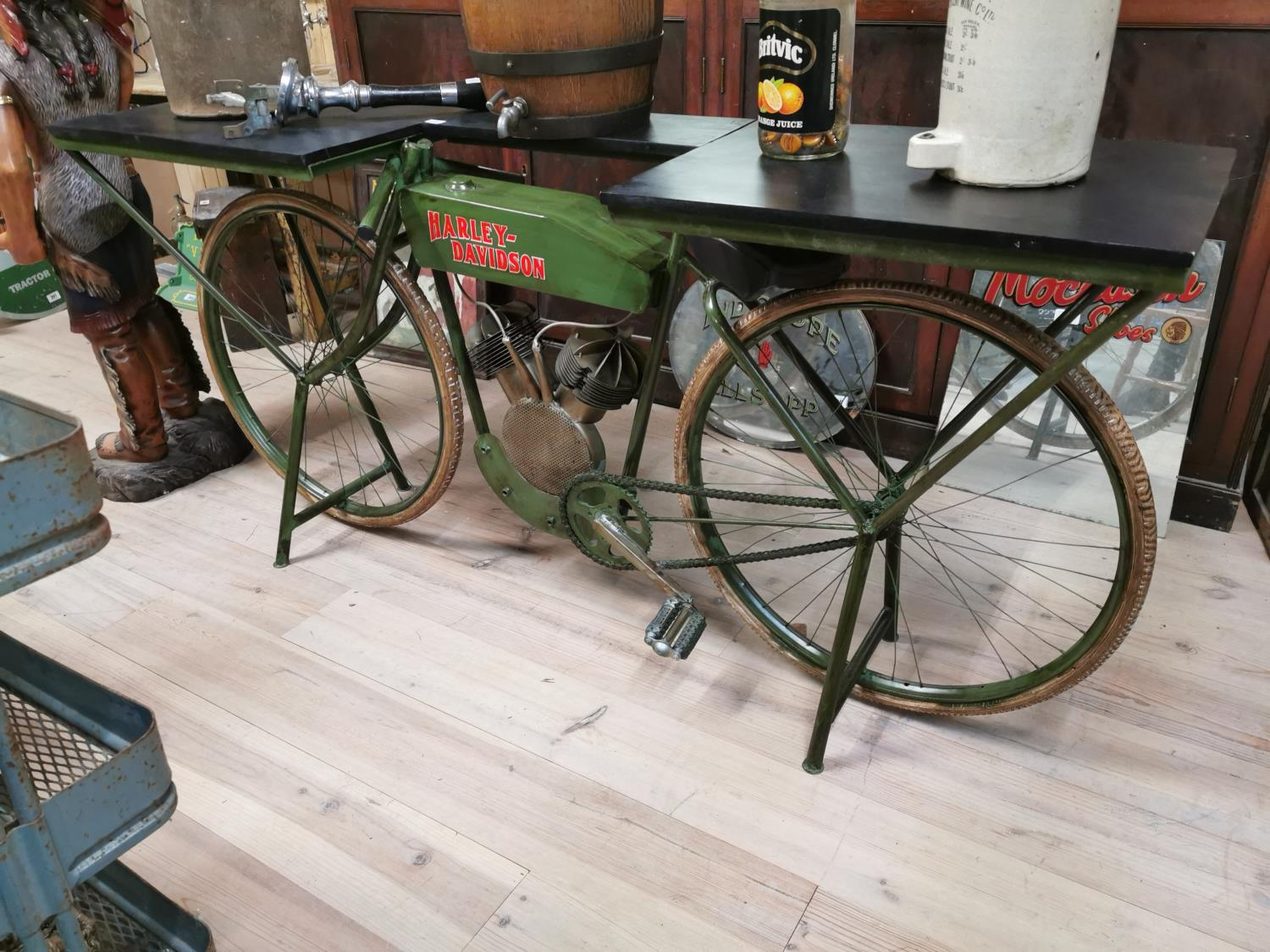 Lot 238 - Bar counter in the form of a Harley Davidson Motorcycle..