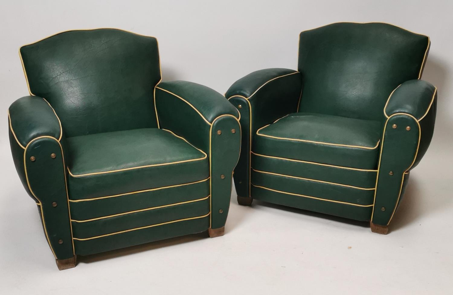 Lot 693 - Pair of Art Deco club chairs.