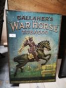 Rare early 20th C. tin plate Gallaher's War Horse advertising sign