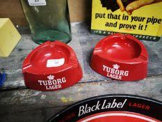 Two 1960's Tuborg advertising ashtrays.