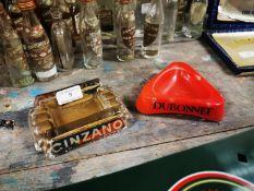 Two advertising ashtrays