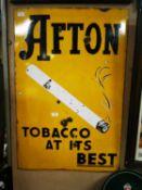 Afton Tobacco pictorial enamel advertising sign.
