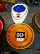 Two Arklow Pottery ashtrays