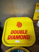Two Double Diamond advertising tinplate trays .
