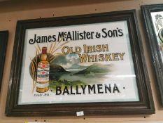 James Mc Allister & Son's Whiskey framed advertising print