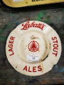 Labatt's Lager enamel advertising ashtray.