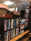 BROWN STITCHED DVD STORAGE RACKS (WITH CONTENTS) AND DESK TIDY