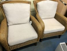 PAIR OF RATTAN CONSERVATORY CHAIRS WITH LOOSE CUSHIONS