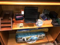 SHELF OF VARIOUS OFFICE STATIONERY INCLUDING DESK TIDIES, TRAYS,