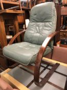 MINT GREEN LEATHER EASY CHAIR