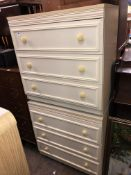 PAIR OF CREAM FRONTED THREE DRAWER CHESTS