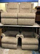 BROWN OATMEAL RECLINING ARMCHAIRS AND TWO SEATER SOFA