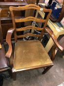 GEORGE III STYLE MAHOGANY LADDERBACK ELBOW CHAIR
