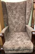 BROWN FLORAL DRALON HIGH BACKED WING BCHAIR
