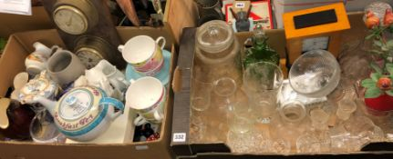 TWO BOXES CONTAINING ETCHED GLASSWARES, PORTMEIRION CRAZY DAISY TEACUPS, ROYAL DOULTON IMAGES,