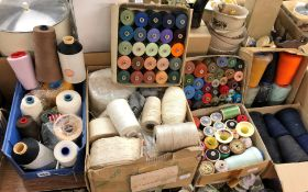 BOX OF LINEN THREADS, SEWING YARNS, REELS OF COTTON,