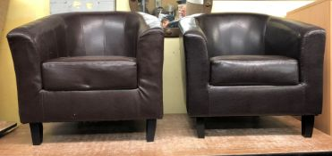 PAIR OF BROWN LEATHER TUB CHAIRS