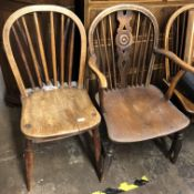 FOUR 19TH CENTURY ELM AND YEW THAMES VALLEY COUNTRY CHAIRS (3 + 1 ELBOW)