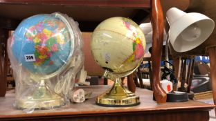 TWO TERRESTRIAL GLOBES AND DESK LAMP