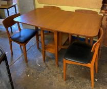 1970S TEAK DROP FLAP DINING TABLE AND FOUR CHAIRS