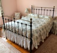 VICTORIAN BLACKENED AND BRASS IRON DOUBLE BED FRAME