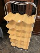 BEECH AND CHROME STRATA EIGHTEEN BOTTLE WINE RACK
