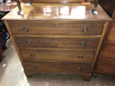 EDWARDIAN MAHOGANY AND CHEQUER STRUNG FOUR DRAWER CHEST ON BRACKET FEET