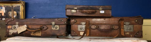 THREE LEATHER VINTAGE LUGGAGE CASES