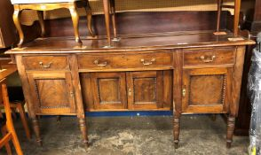 19TH CENTURY IRISH MAHOGANY GALLERY BACKED SIDEBOARD (HEIGHT= 107CM, DEPTH= 57CM, WIDTH= 183CM)