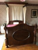 VICTORIAN FLAME MAHOGANY HALF TESTER BEDSTEAD AND MATTRESS