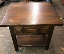 YOUNGER DARK WOOD LAMP TABLE WITH DRAWER