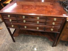 REPRODUCTION MAHOGANY GALLERY BACKED CANTEEN CHEST OF CUTLERY WITH PULL OUT SLIDE
