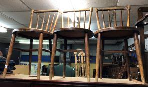THREE SPINDLE BACK EMBOSSED BENTWOOD COUNTRY CHAIRS
