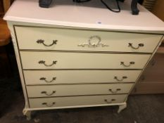 CREAM FRENCH STYLE FIVE DRAWER CHEST