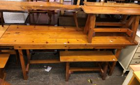 NARROW PINE BENCH TABLE AND FOUR BENCHES