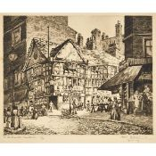 Sybil Andrews (1898–1992), THE OLD SHAMBLES, MANCHESTER, CIRCA 1923-1929, Etching and drypoint; sign