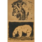 Henri Deluermoz (1876-1943), LION'S HEAD; GREY BEAR, CIRCA 1925, Two black pigment transfer prints,