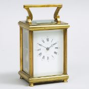 French Carriage Clock, c.1900, handle up height 6.75 in — 17.1 cm