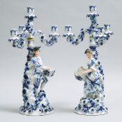 Pair of Sitzendorf Figural Four-Light Candelabra, late 19th century, height 21 in — 53.3 cm (2 Piece