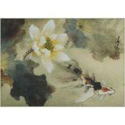 Lu Qingyuan (1946- ), Goldfish and Lotus, 卢清远 (1946- ) 荷花游鱼 设色纸本 镜框, image 12 x 17 in — 30.5 x 43.2