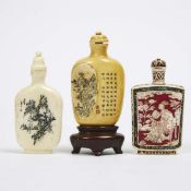 A Group of Three Ivory Snuff Bottles, Early 20th Century, 二十世纪早期 牙雕鼻烟壶一组三件, tallest height 2.8 in —