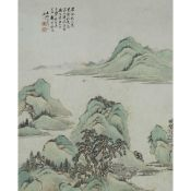 Huang Yi (Republican Period), Landscape, Signed and Dated 1921, 黄逸 山水 设色纸本 镜框 作于1921年, image 23.4 x