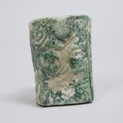Seljuk Empire Green Glazed Relief Moulded Pottery Border Tile, Persia, 12th century, 5.3 x 3.75 in —
