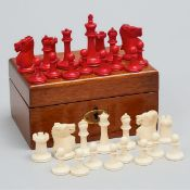 English Staunton Pattern Ivory Chess Set, 19th century, king height 2.25 in — 5.7 cm